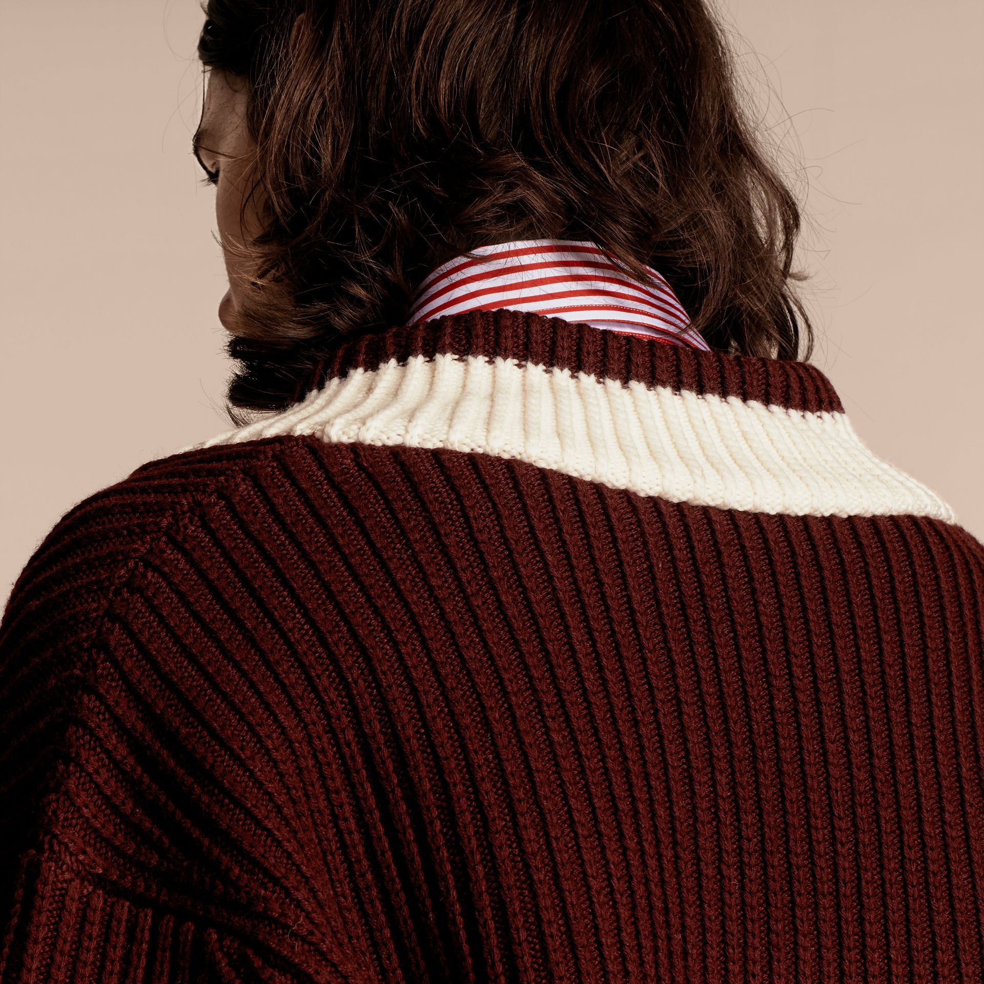 Deep burgundy/natural white Sports-striped Wool Sweater - gallery image 5