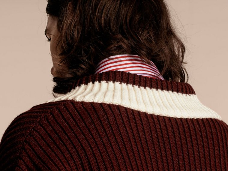 Deep burgundy/natural white Sports-striped Wool Sweater - cell image 4