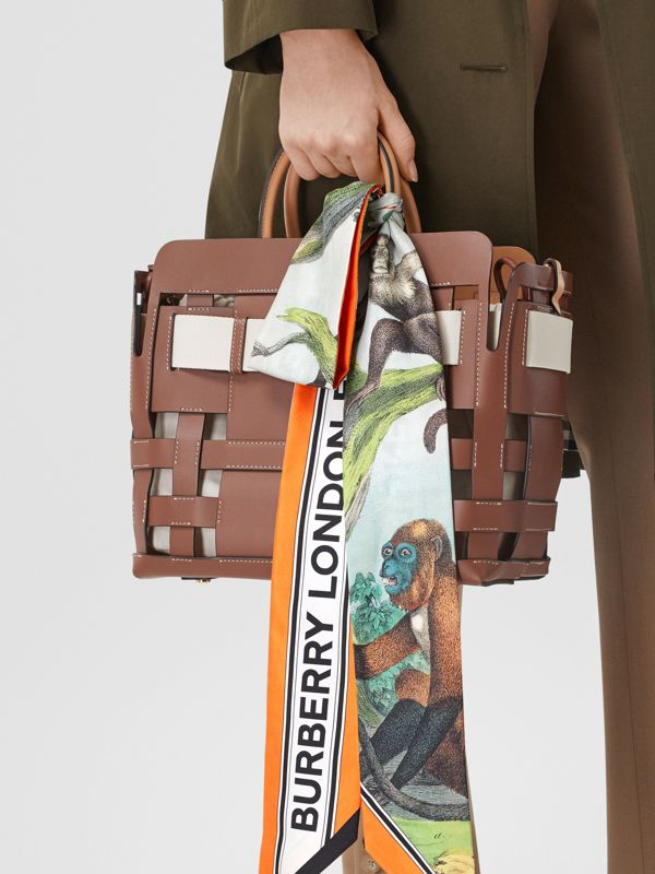 Monkey Print Silk Skinny Scarf in Light Opal Green | Burberry - cell image 2