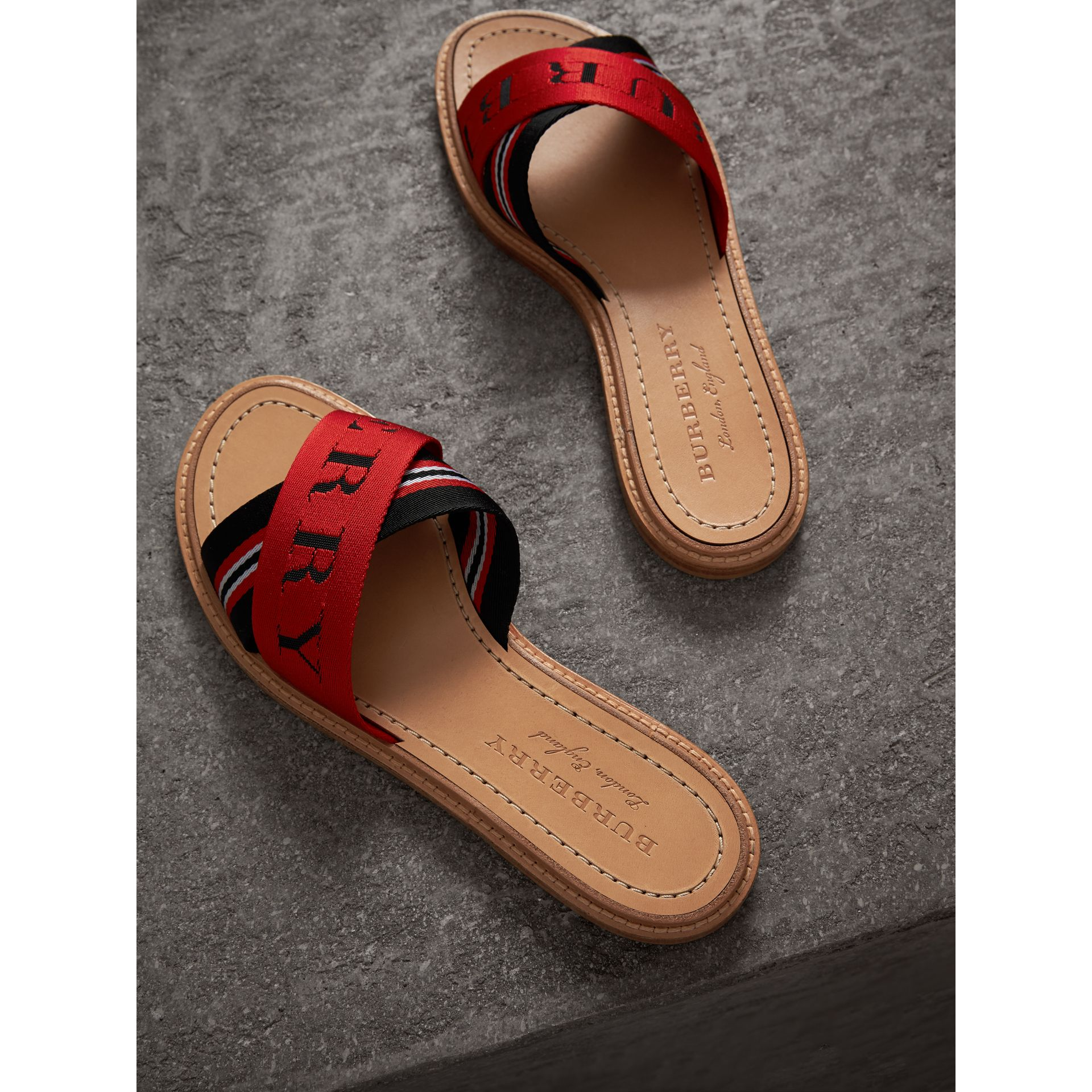 Striped Nylon and Leather Slides in Black/red/white - Women | Burberry - gallery image 3