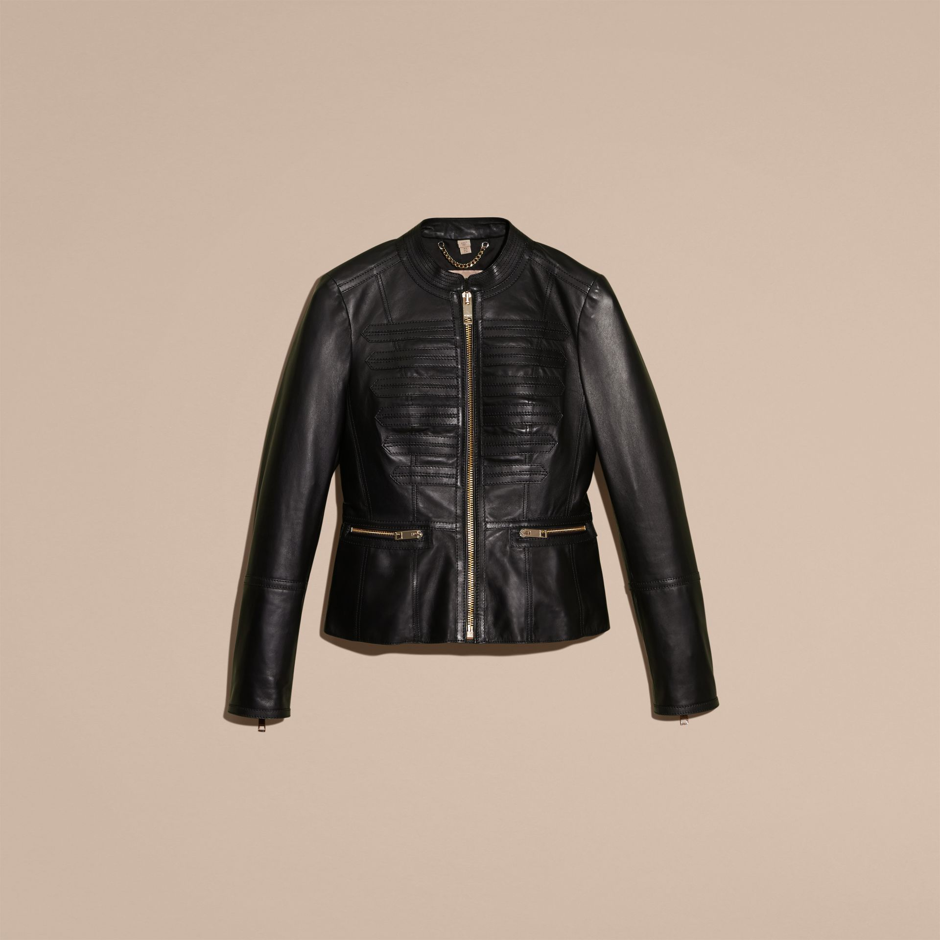 Collarless Lambskin Jacket with Regimental Detailing - gallery image 4