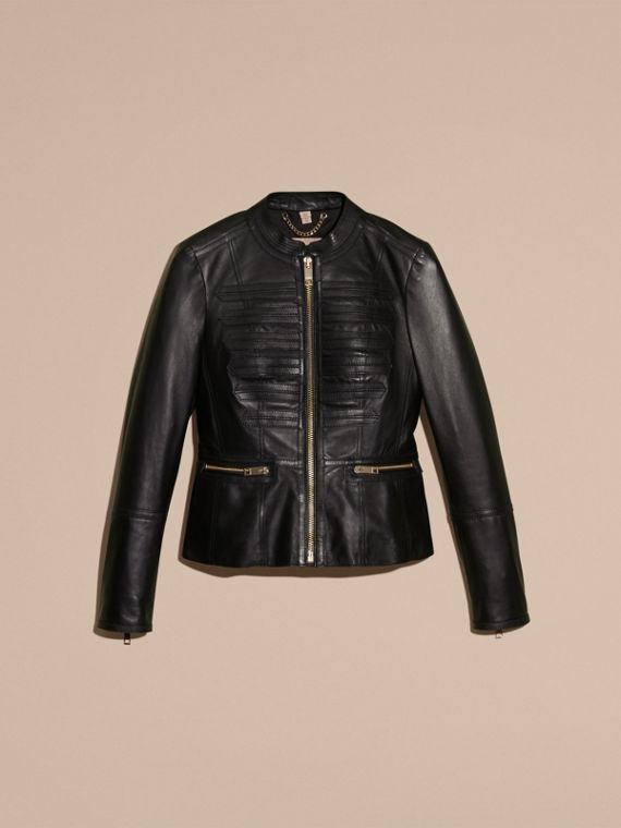 Collarless Lambskin Jacket with Regimental Detailing - cell image 3