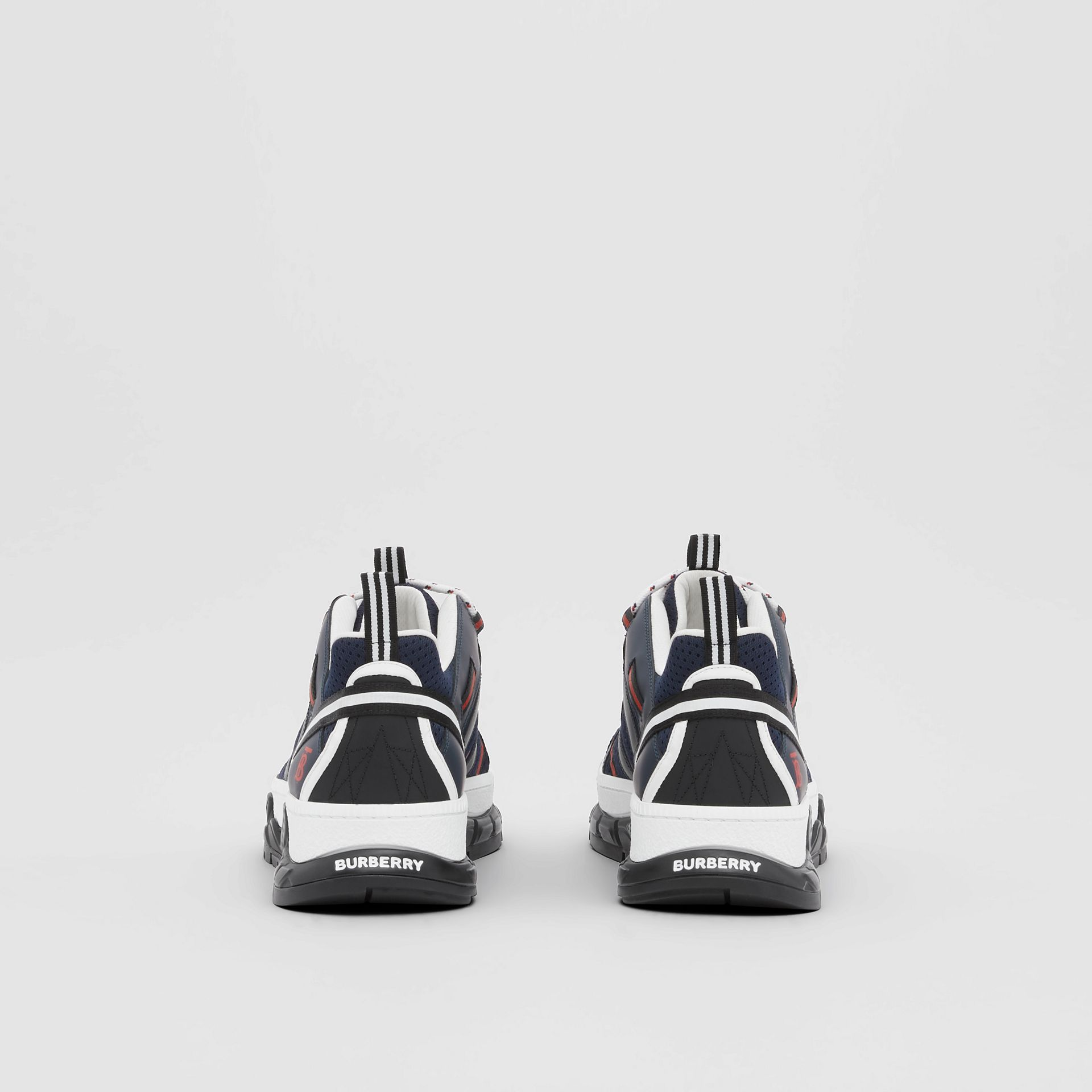 Leather and Mesh Union Sneakers in Navy - Men | Burberry - gallery image 4