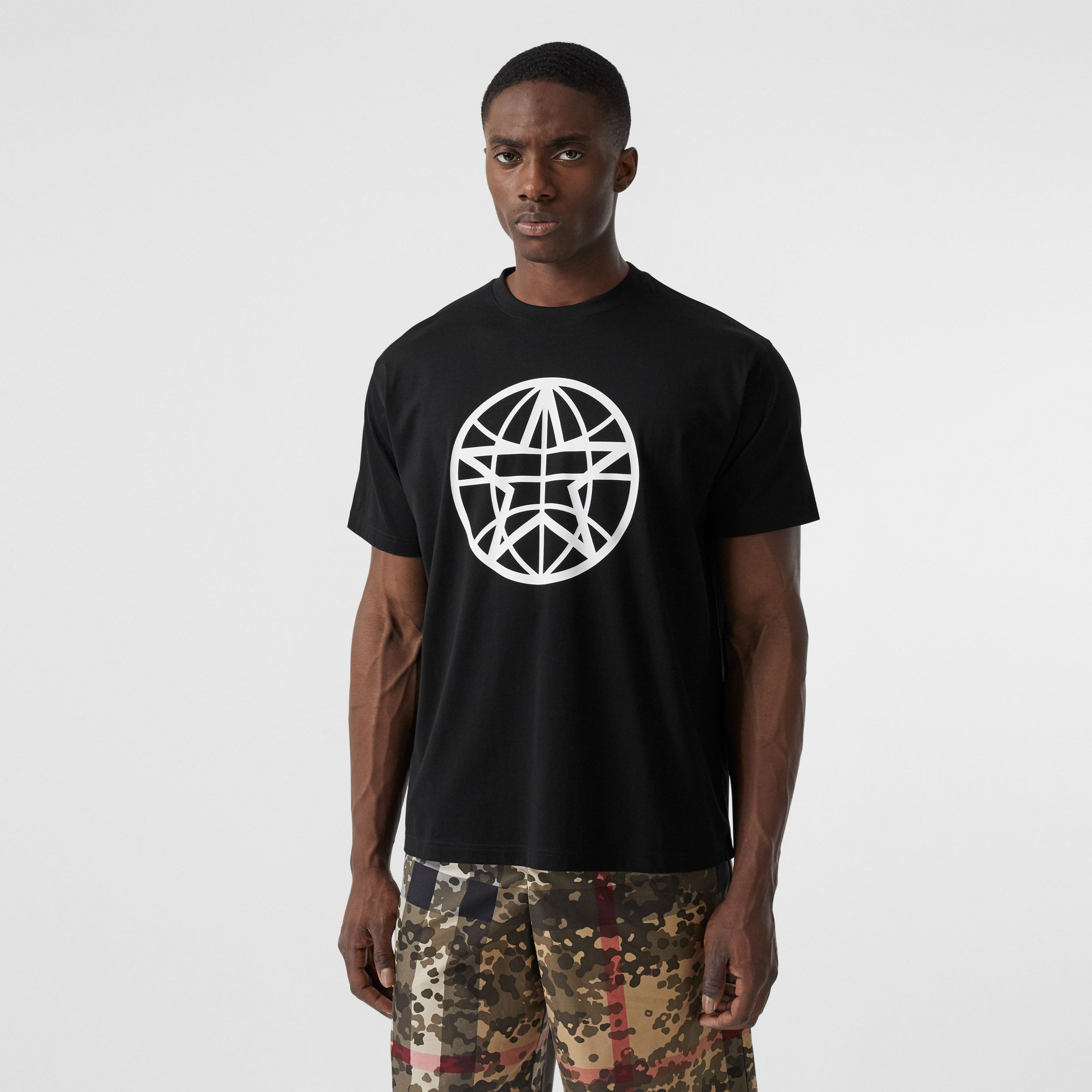 Globe Graphic Cotton Oversized T-shirt in Black | Burberry United States - 1