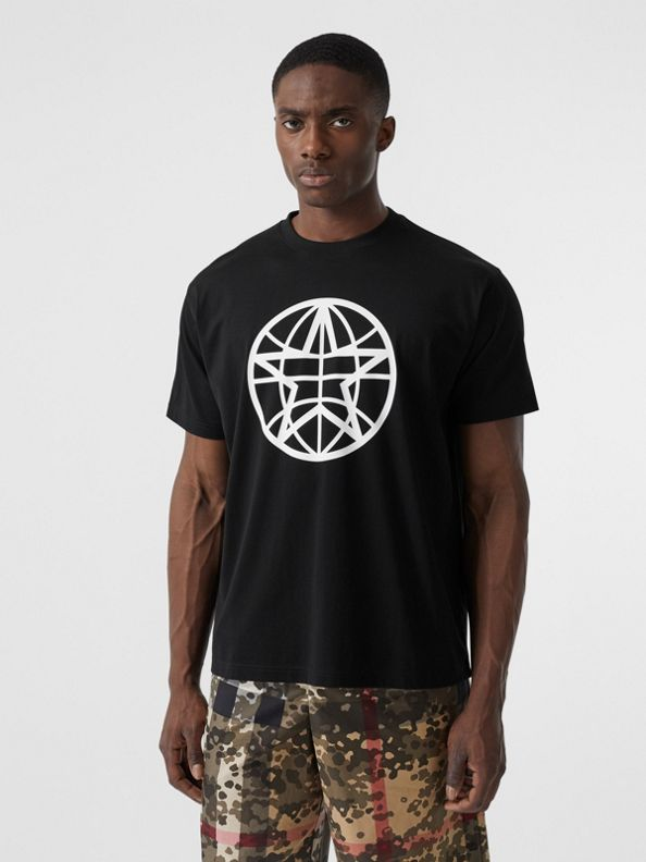 Globe Graphic Cotton Oversized T-shirt in Black