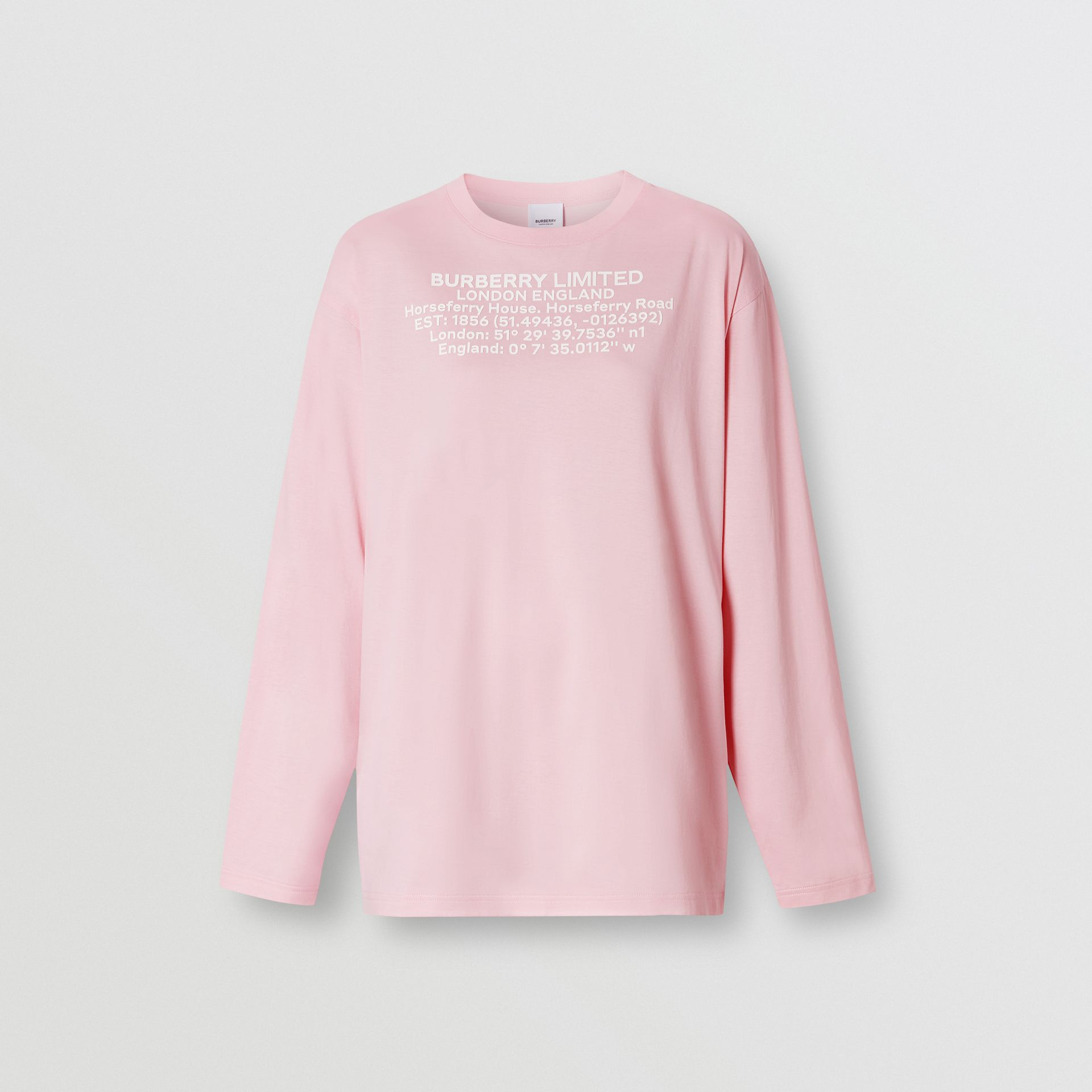 Long-sleeve Location Print Cotton Oversized Top in Candy Pink - Women | Burberry United Kingdom - gallery image 3