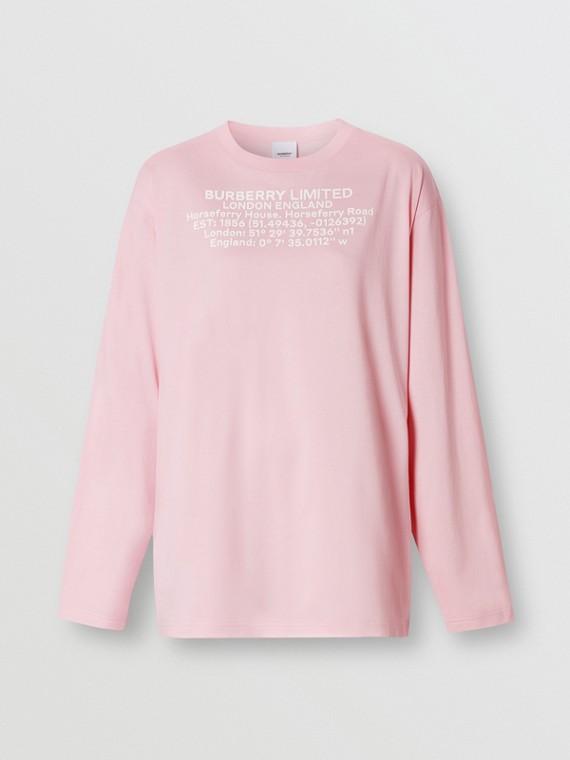 Blusa oversize de algodão com mangas longas e estampa geográfica (Rosa Chiclete)