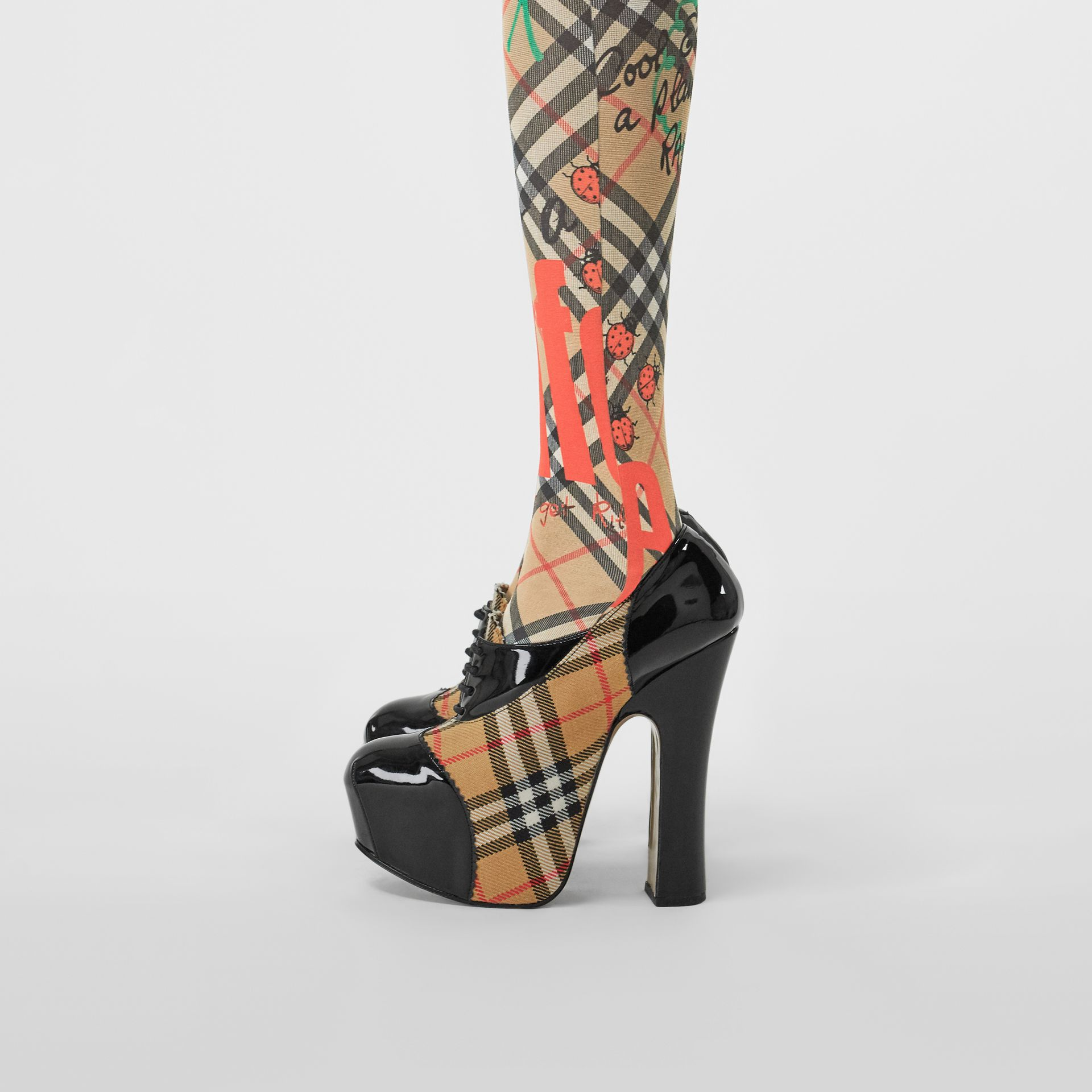 Vintage Check and Patent Lace-up Platforms in Black | Burberry - gallery image 2