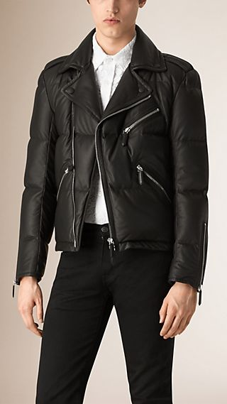 Down-filled Lambskin Biker Jacket