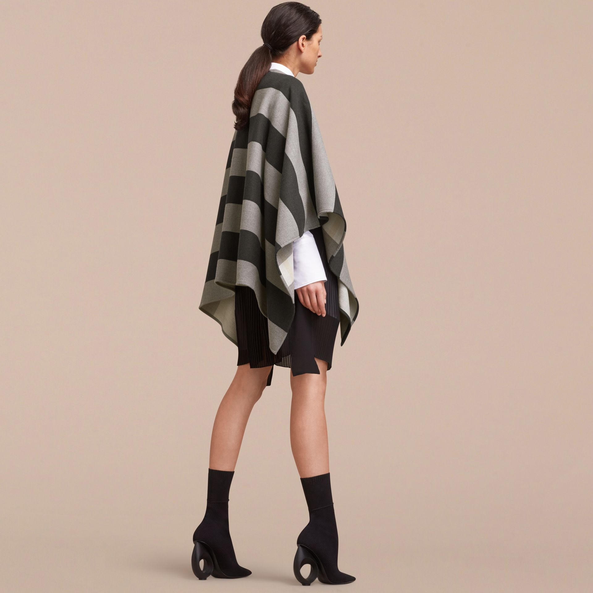 Reversible Stripe and Check Merino Wool Poncho in Grey - Women | Burberry - gallery image 3