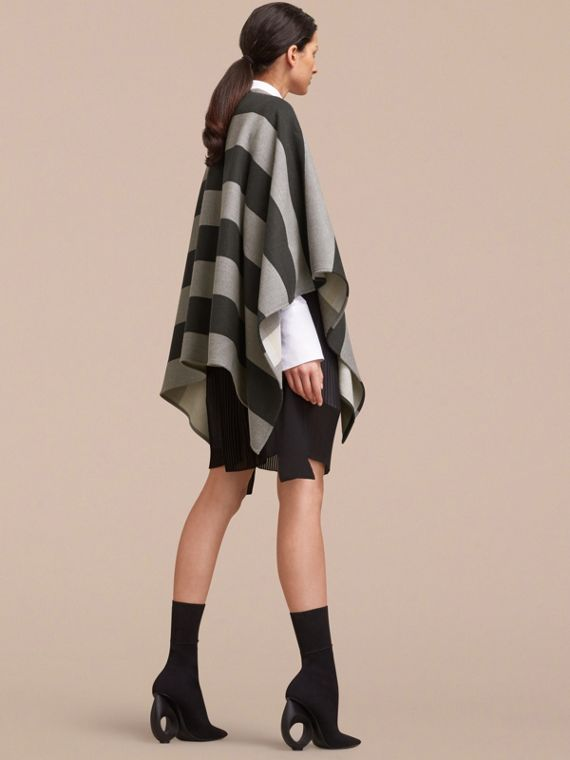 Reversible Stripe and Check Merino Wool Poncho in Grey - Women | Burberry Canada - cell image 2