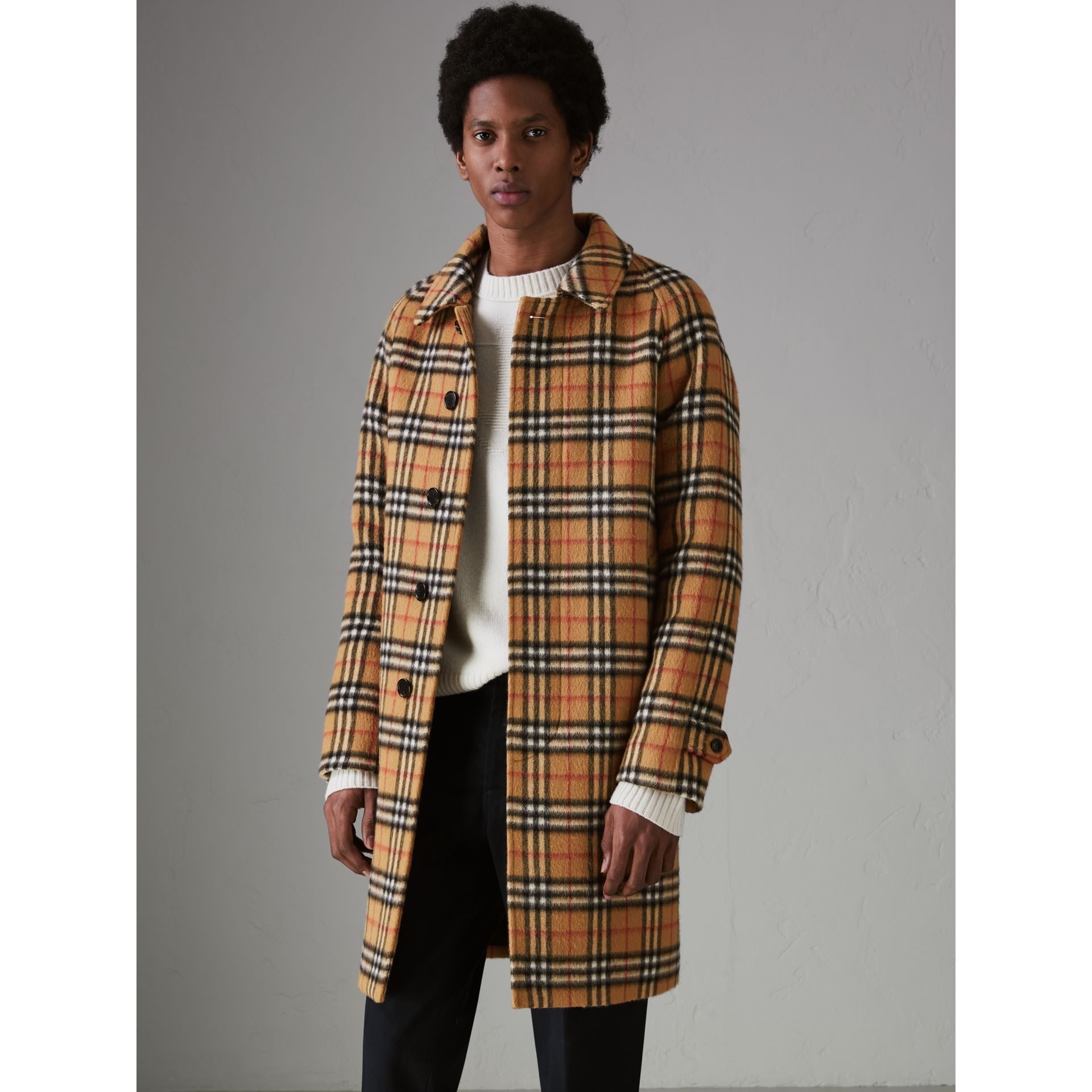 Vintage Check Alpaca Wool Car Coat in Antique Yellow - Men | Burberry - gallery image 6