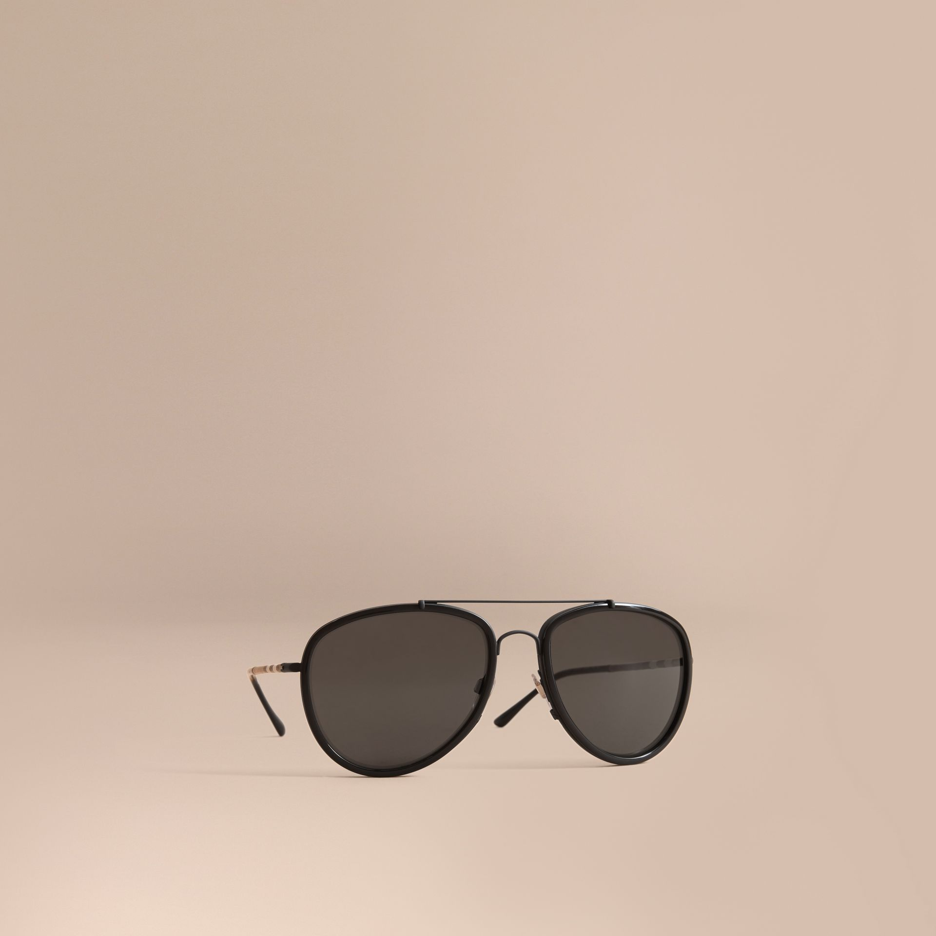 Check Detail Pilot Sunglasses in Black - Men | Burberry United Kingdom - gallery image 1