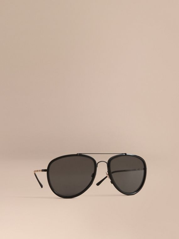 Check Detail Pilot Sunglasses in Black - Men | Burberry Singapore
