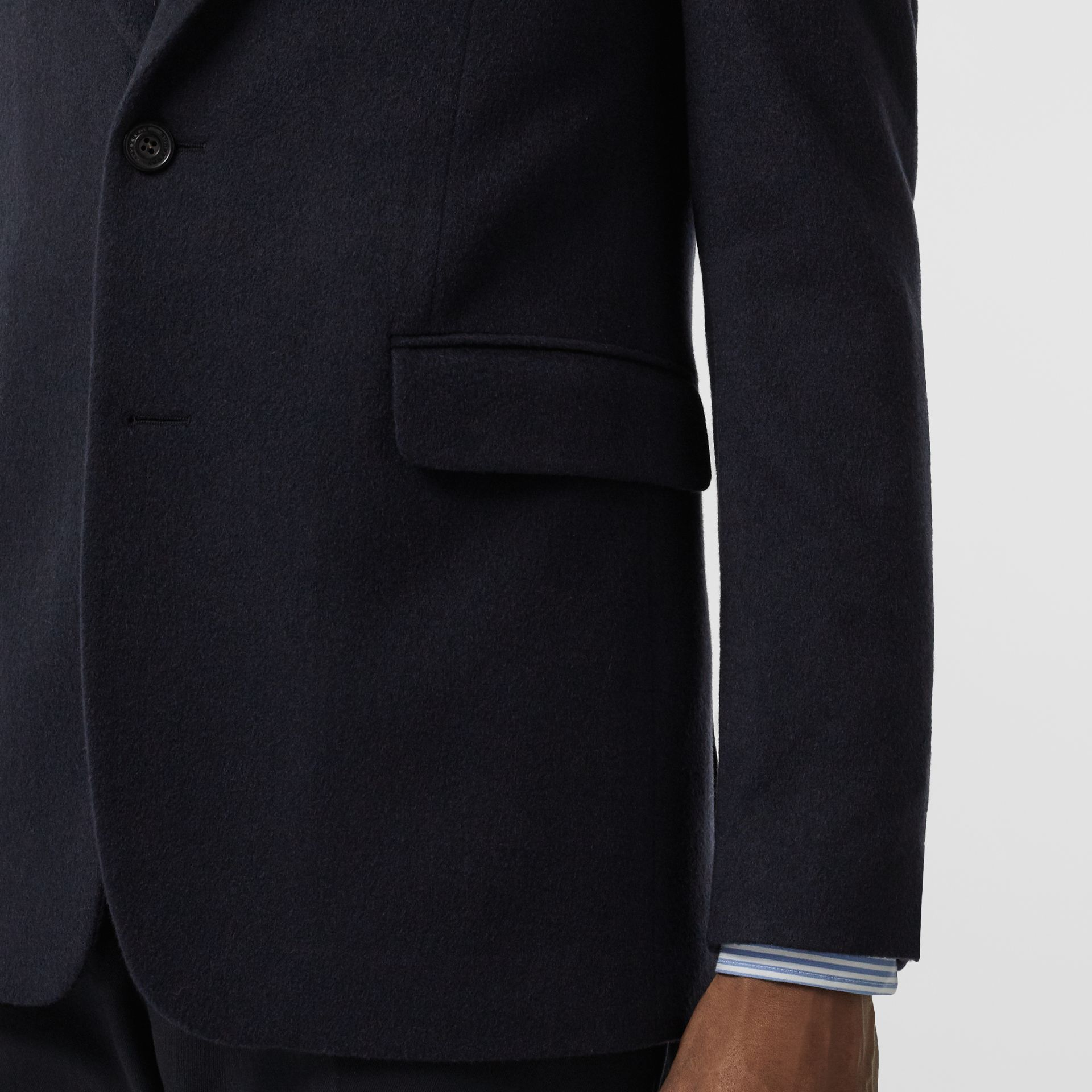Classic Fit Cashmere Tailored Jacket in Navy Melange - Men | Burberry - gallery image 4