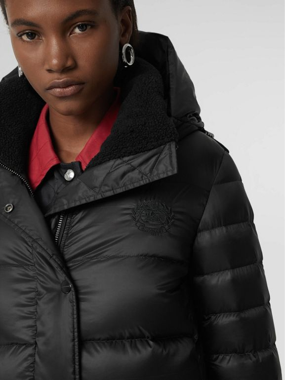 Down-filled Hooded Puffer Coat in Black - Women | Burberry Singapore - cell image 1