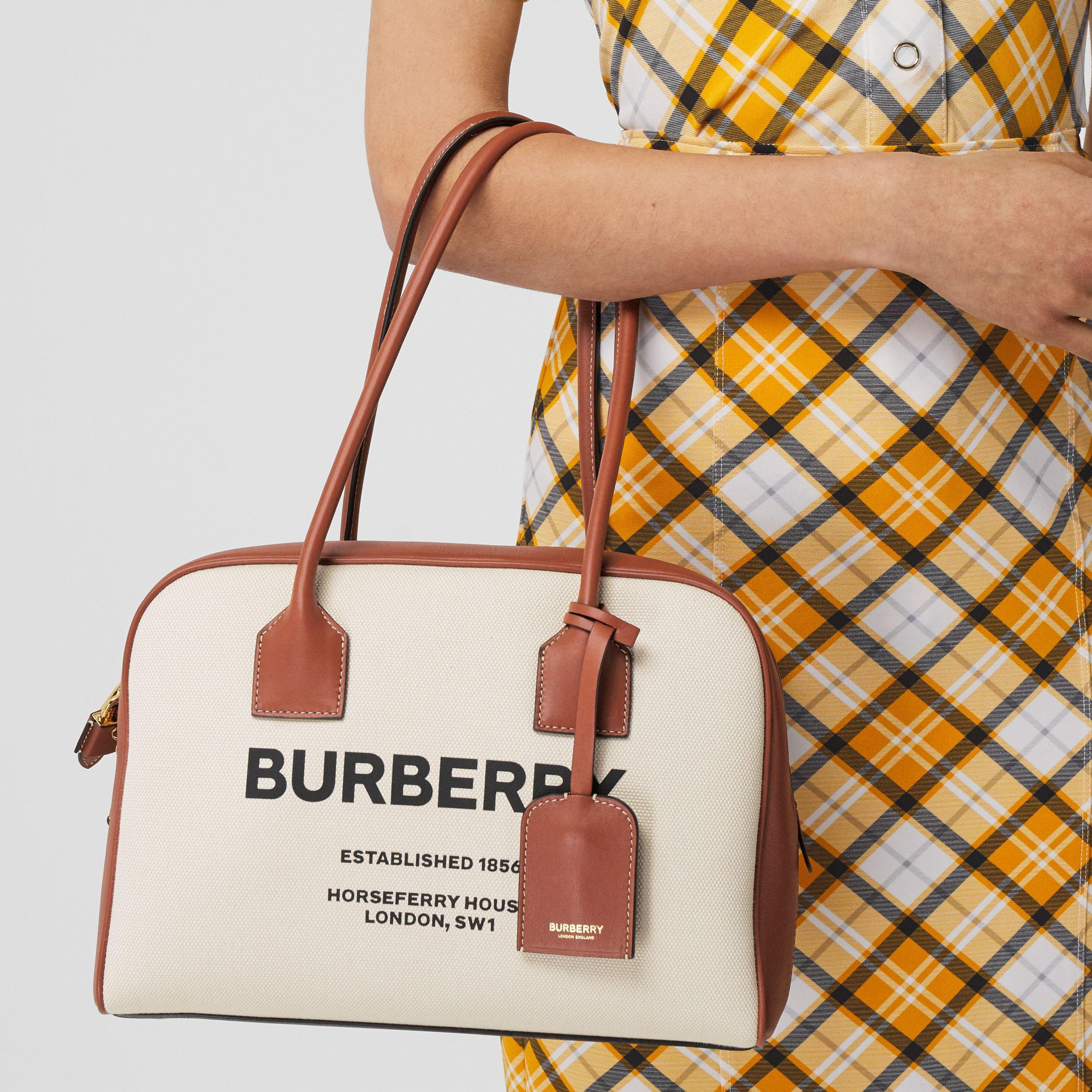 Medium Horseferry Print Cotton Canvas Half Cube Bag in Natural/tan/black - Women | Burberry - 3