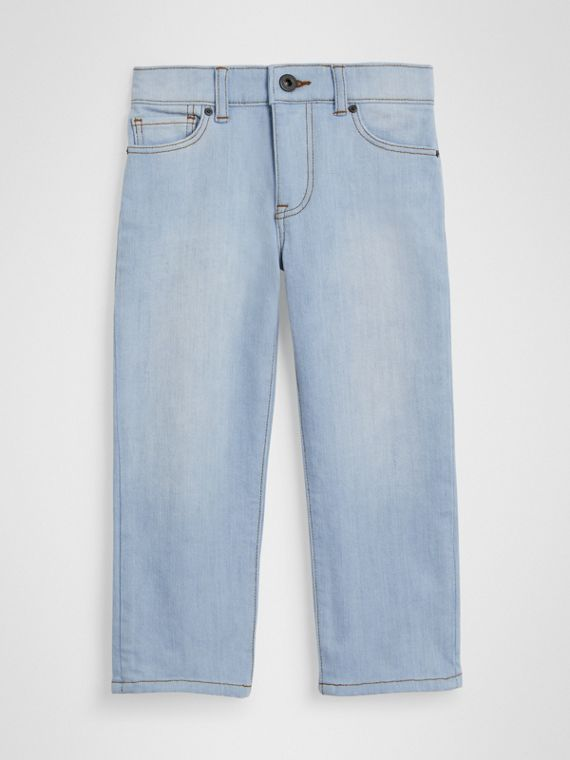 Relaxed Fit Stretch Denim Jeans in Light Blue