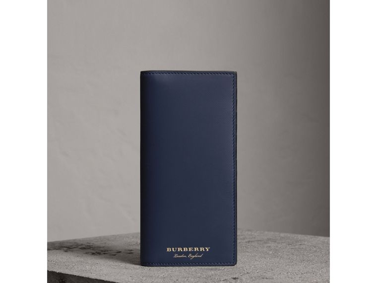 Trench Leather Continental Wallet in Ink Blue - Men | Burberry - cell image 4