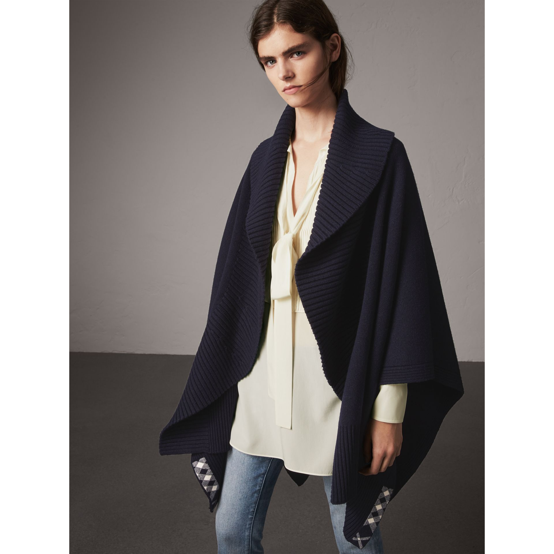 Shawl Collar Wool Cashmere Poncho in Indigo - Women | Burberry - gallery image 6