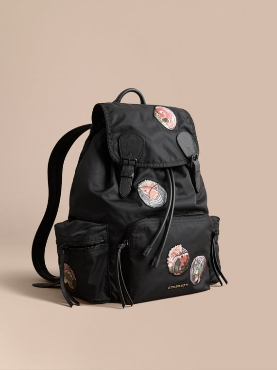 The Large Rucksack in Technical Nylon with Pallas Heads Appliqué