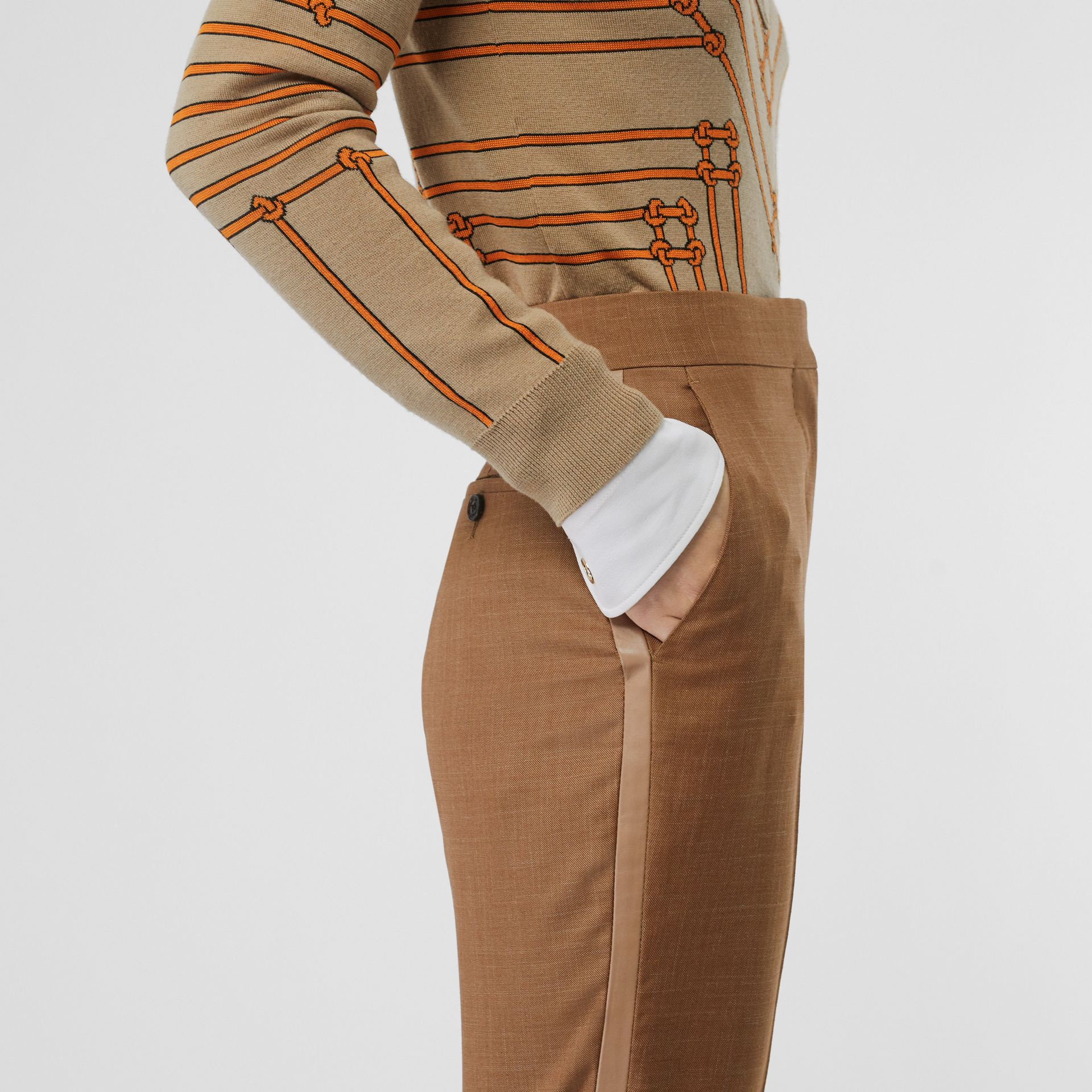 Wool Silk Mohair Linen Tailored Trousers in Bronze - Women | Burberry - gallery image 1