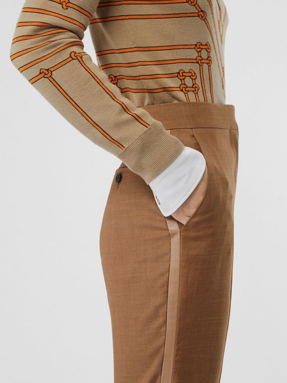 Wool Silk Mohair Linen Tailored Trousers in Bronze - Women | Burberry United States - cell image 1