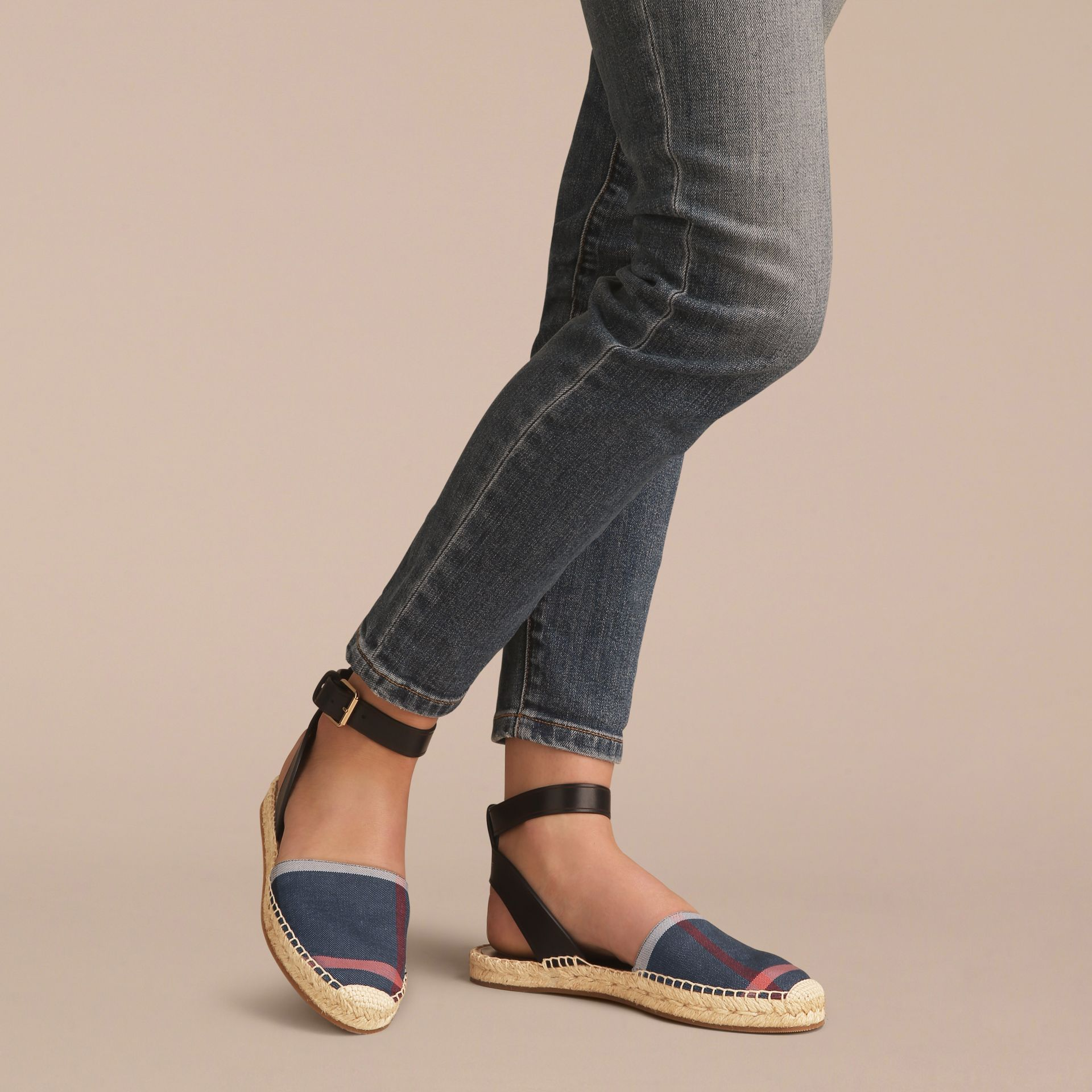 Leather and Check Linen Cotton Espadrille Sandals in Navy - Women | Burberry - gallery image 3