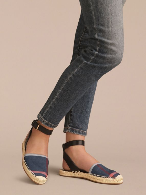 Leather and Check Linen Cotton Espadrille Sandals in Navy - Women | Burberry United States - cell image 2