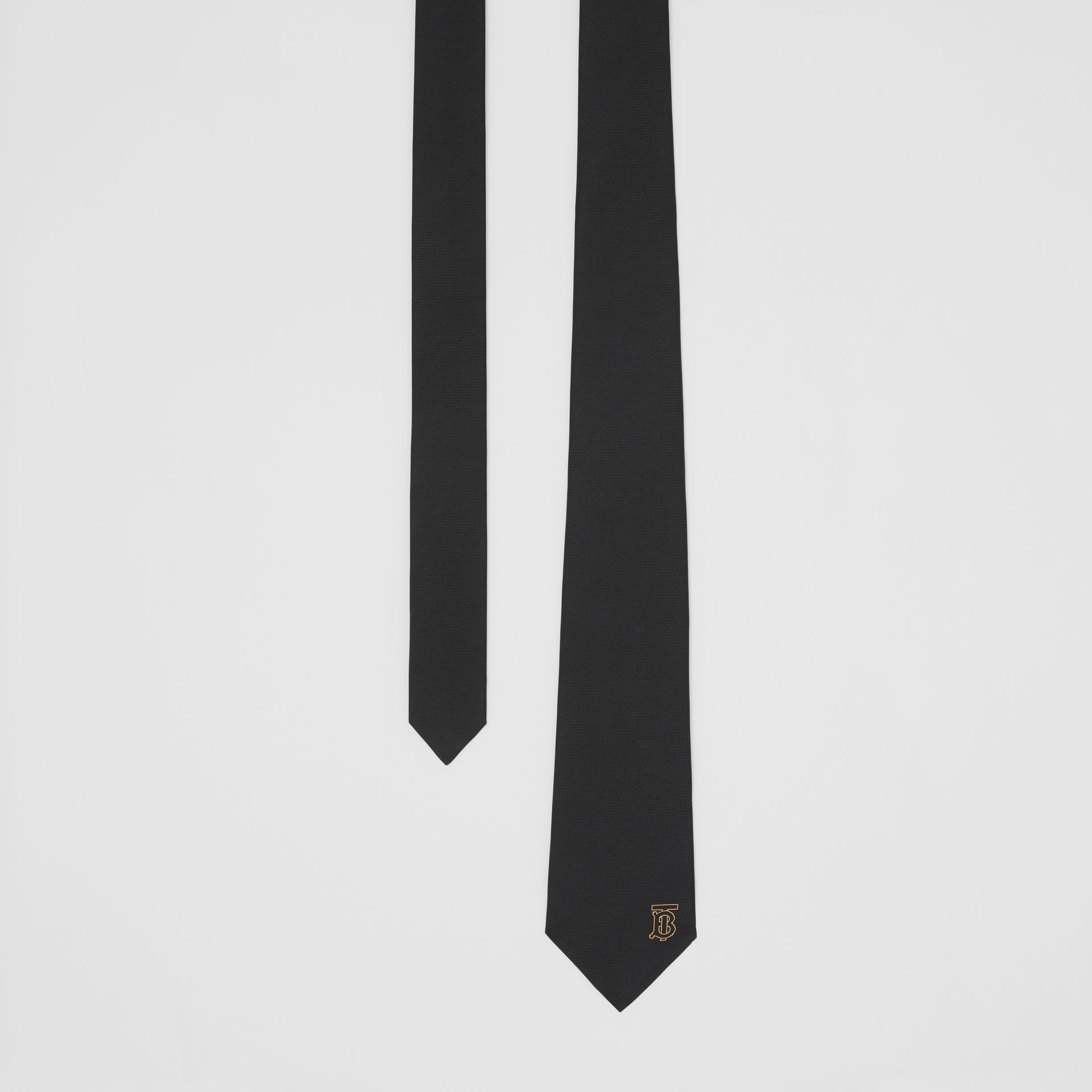 Classic Cut Monogram Motif Silk Tie in Black - Men | Burberry United Kingdom - gallery image 0