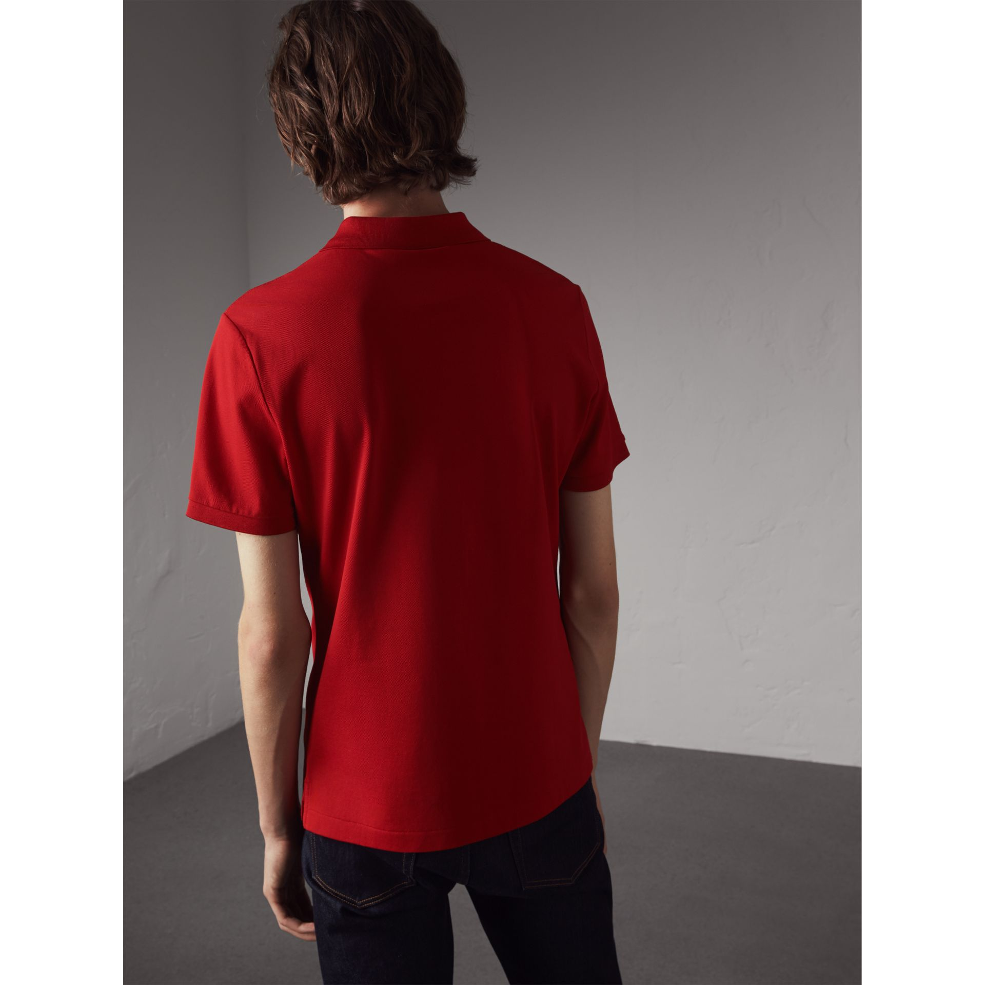 Cotton Piqué Polo Shirt in Military Red - Men | Burberry - gallery image 3