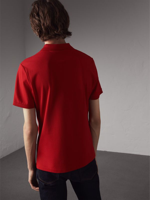Cotton Piqué Polo Shirt in Military Red - Men | Burberry - cell image 2