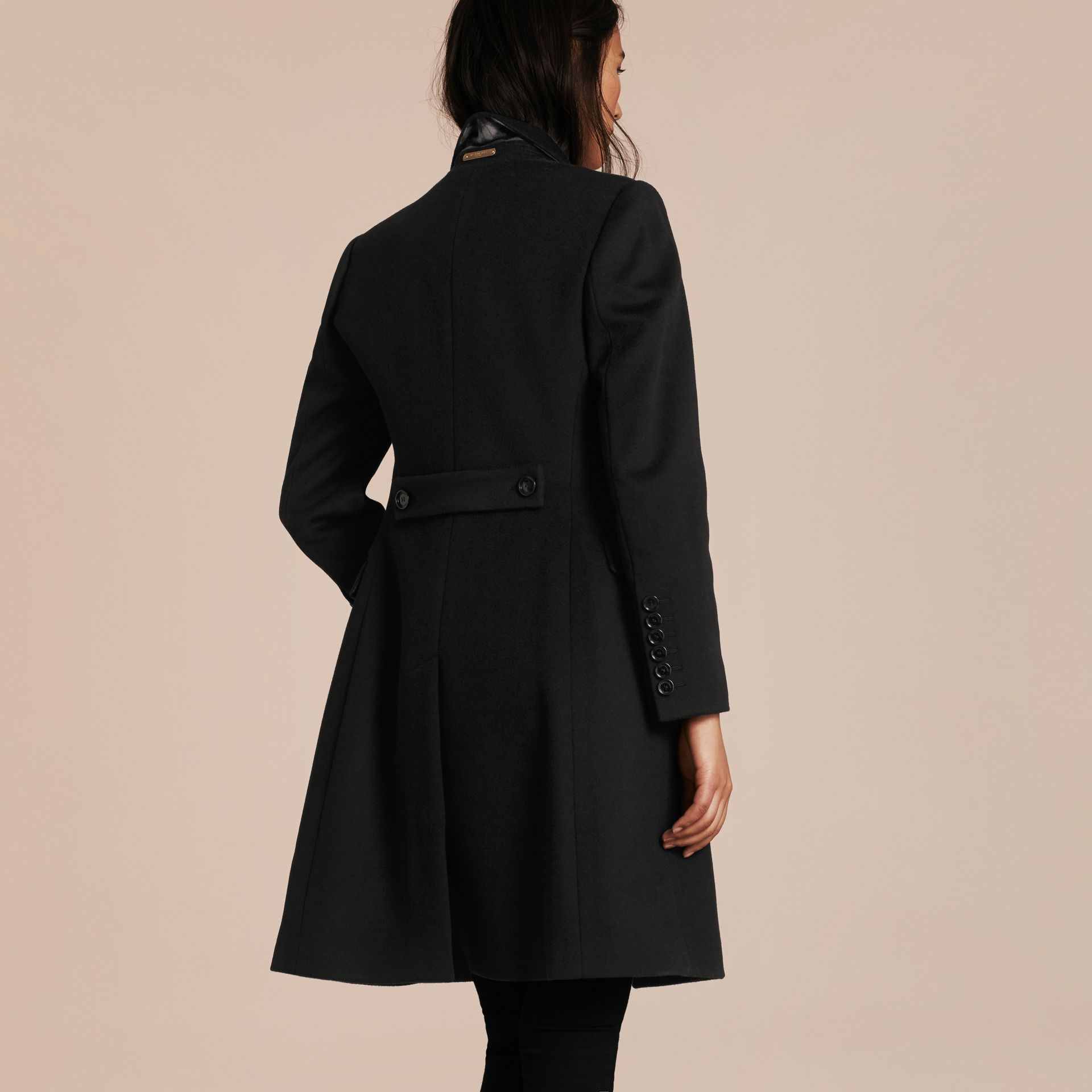 Black Tailored Wool Cashmere Coat Black - gallery image 3