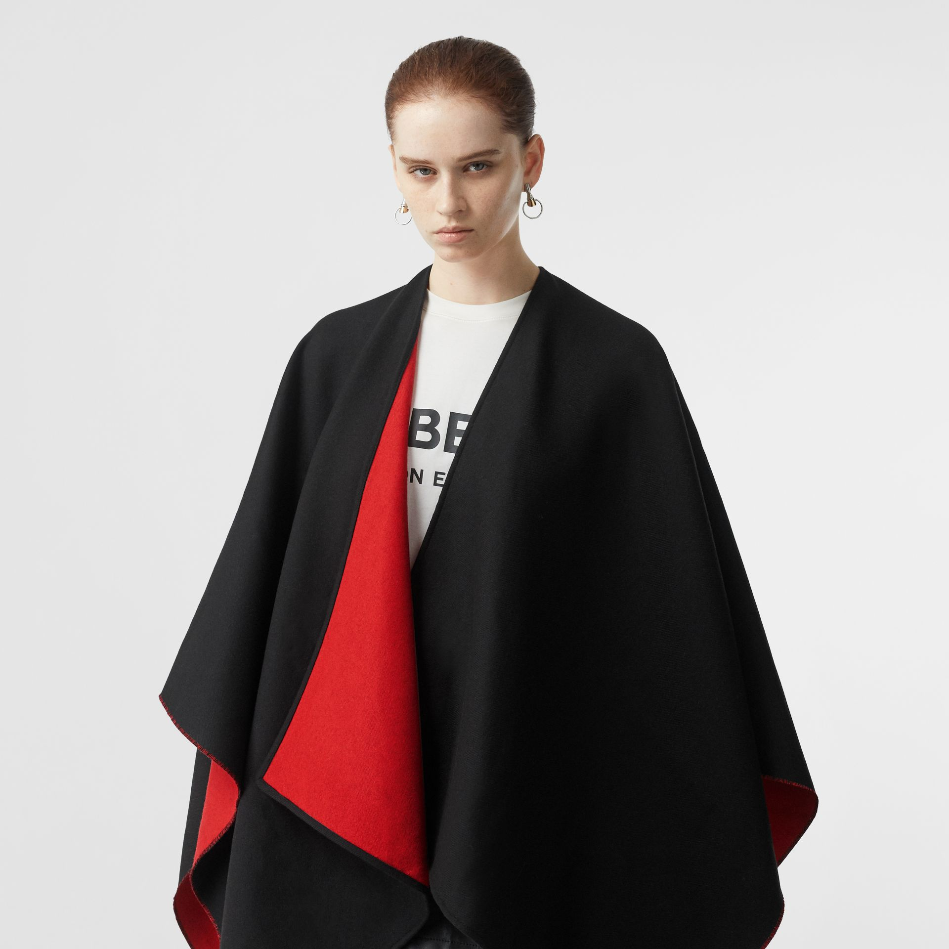 Logo Detail Wool Jacquard Cape in Black - Women | Burberry - gallery image 2