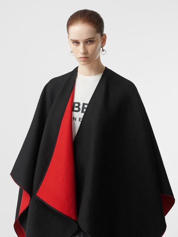 Logo Detail Wool Jacquard Cape in Black - Women | Burberry United Kingdom - cell image 2