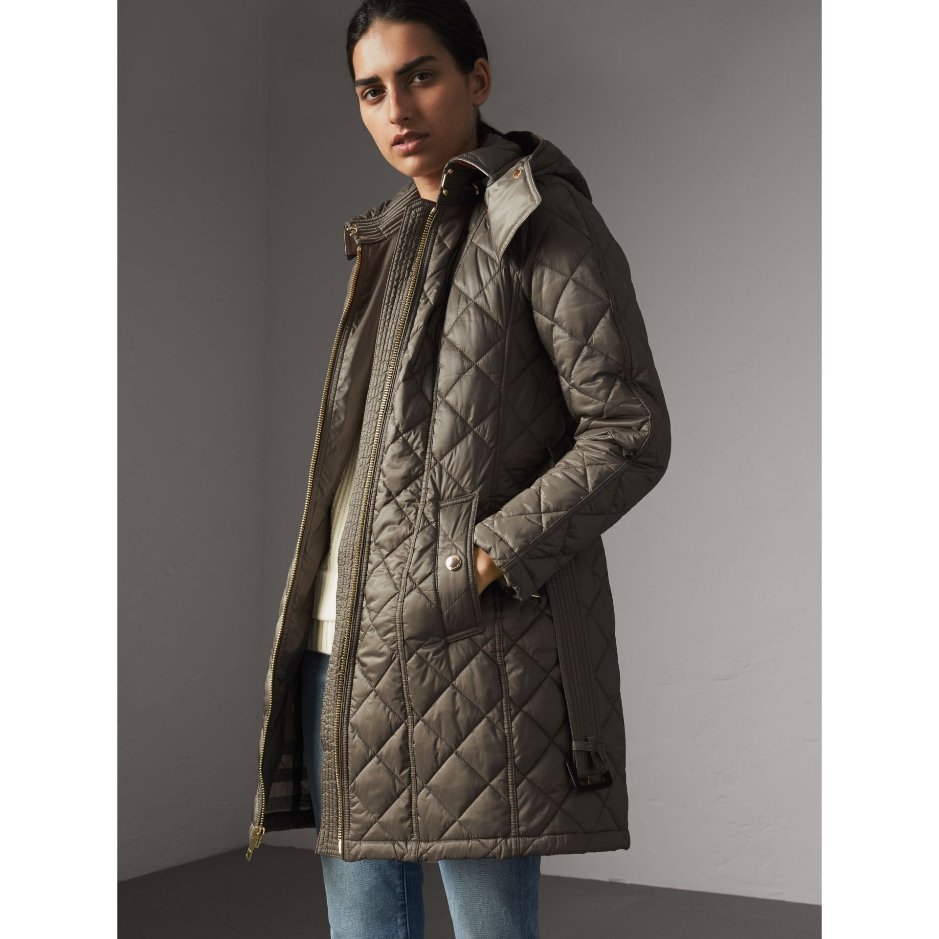 Detachable Hood Quilted Showerproof Parka in Mink Grey - Women | Burberry - gallery image 1