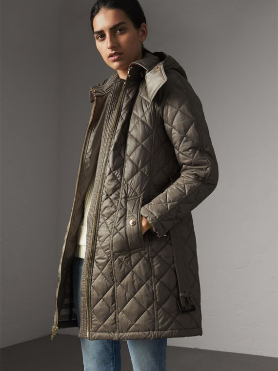 Detachable Hood Quilted Showerproof Parka in Mink Grey