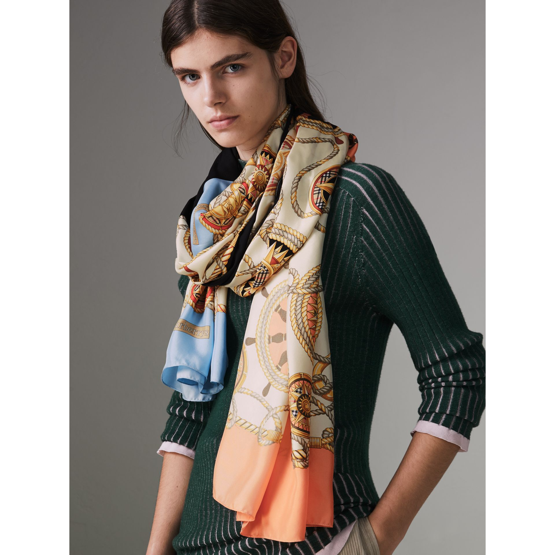 Archive Print Silk Scarf in Multicolour - Women | Burberry - gallery image 4