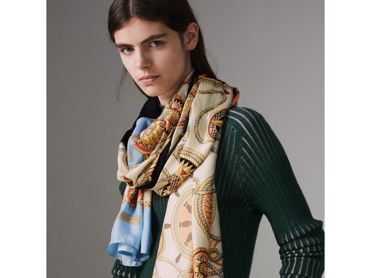 Archive Print Silk Scarf in Multicolour - Women | Burberry Canada - cell image 4
