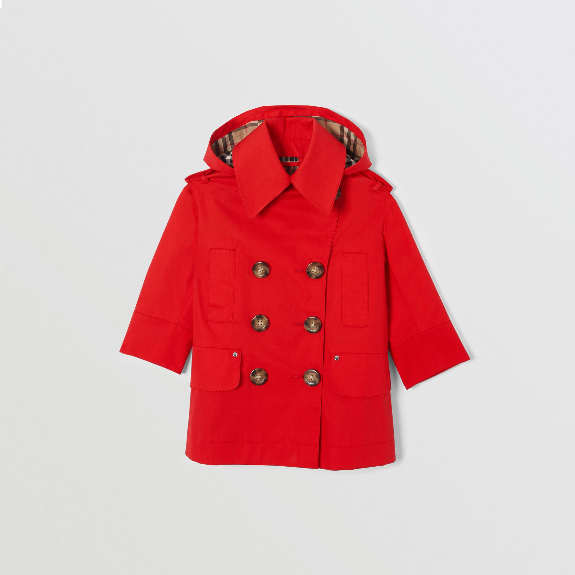 Detachable Hood Showerproof Cotton Trench Coat in Bright Red | Burberry - gallery image 0