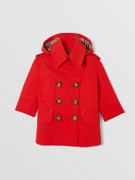 Detachable Hood Showerproof Cotton Trench Coat in Bright Red