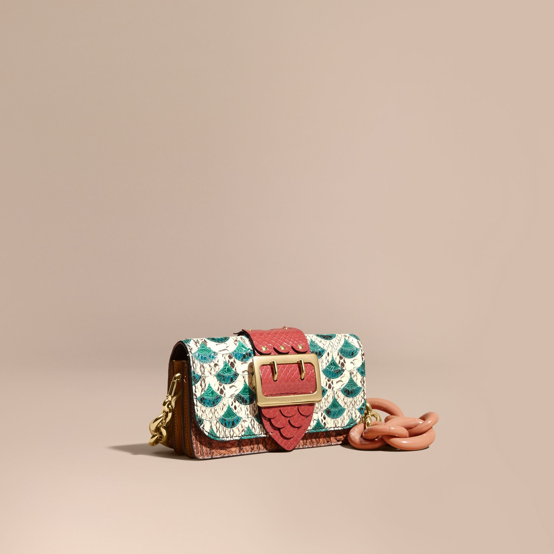 The Small Buckle Bag in Scallop Trim Snakeskin and Ostrich - gallery image 1