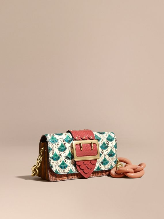 The Small Buckle Bag in Scallop Trim Snakeskin and Ostrich