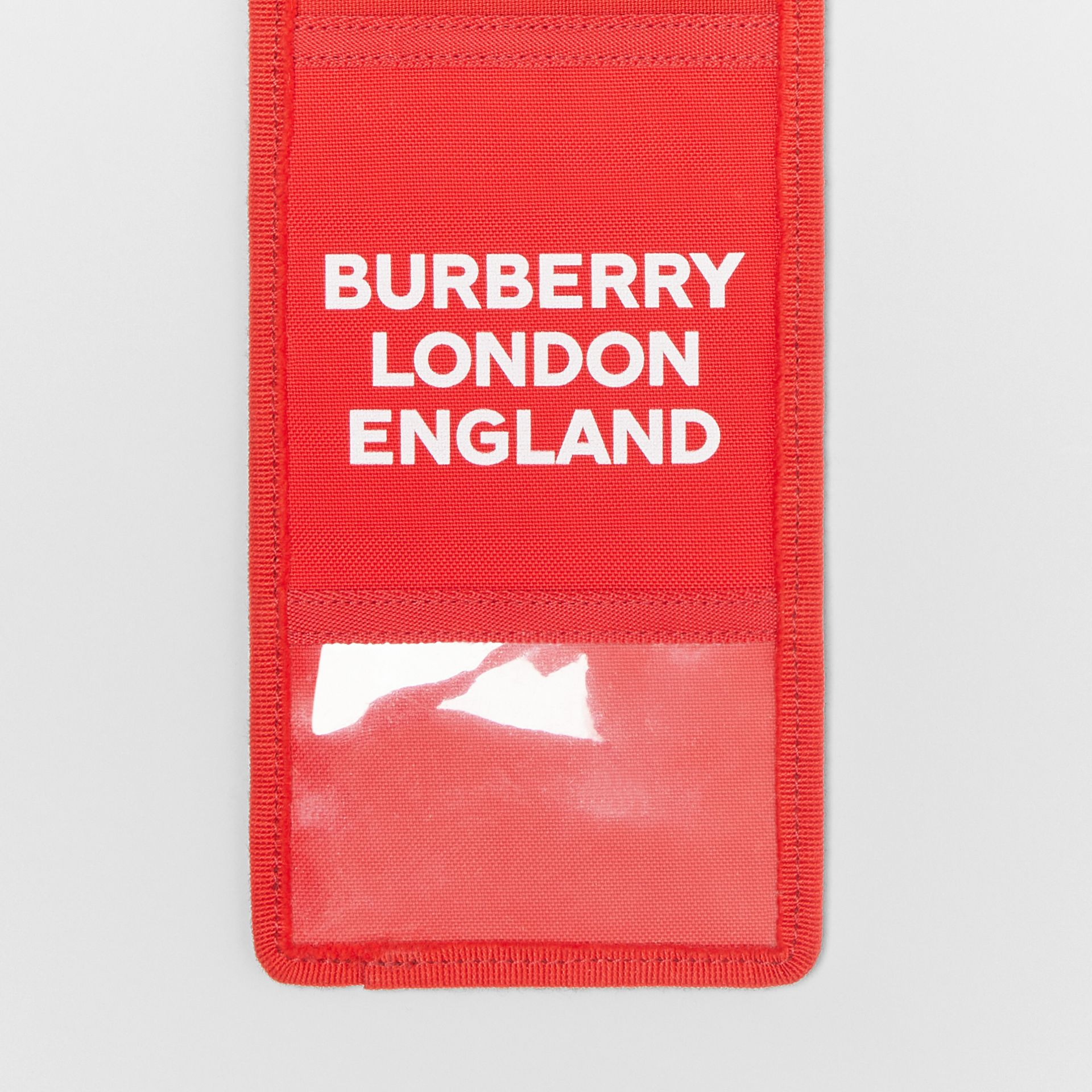 Logo Print Card Case Lanyard in Bright Military Red | Burberry - gallery image 1