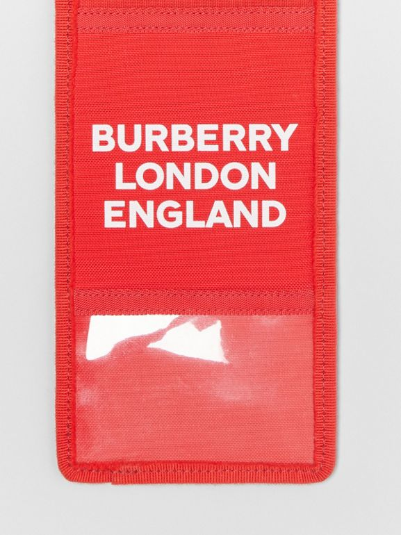 Logo Print Card Case Lanyard in Bright Military Red | Burberry - cell image 1