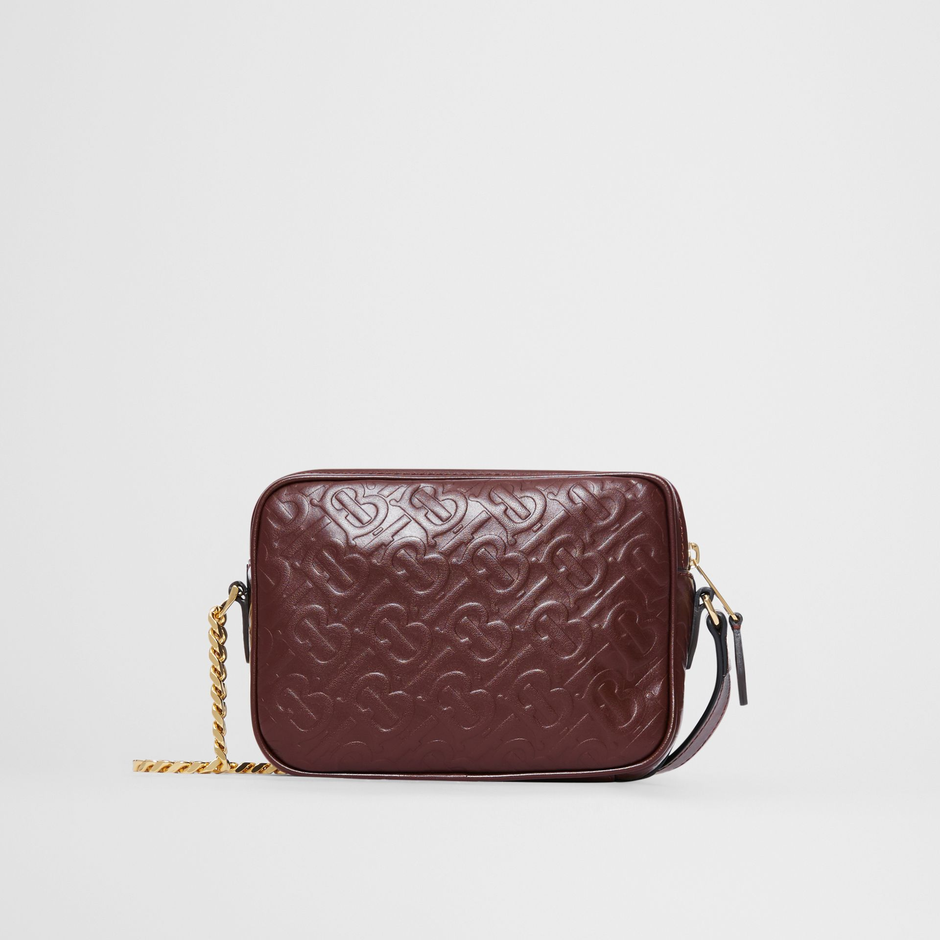 Monogram Leather Camera Bag in Dark Burgundy - Women | Burberry - gallery image 5