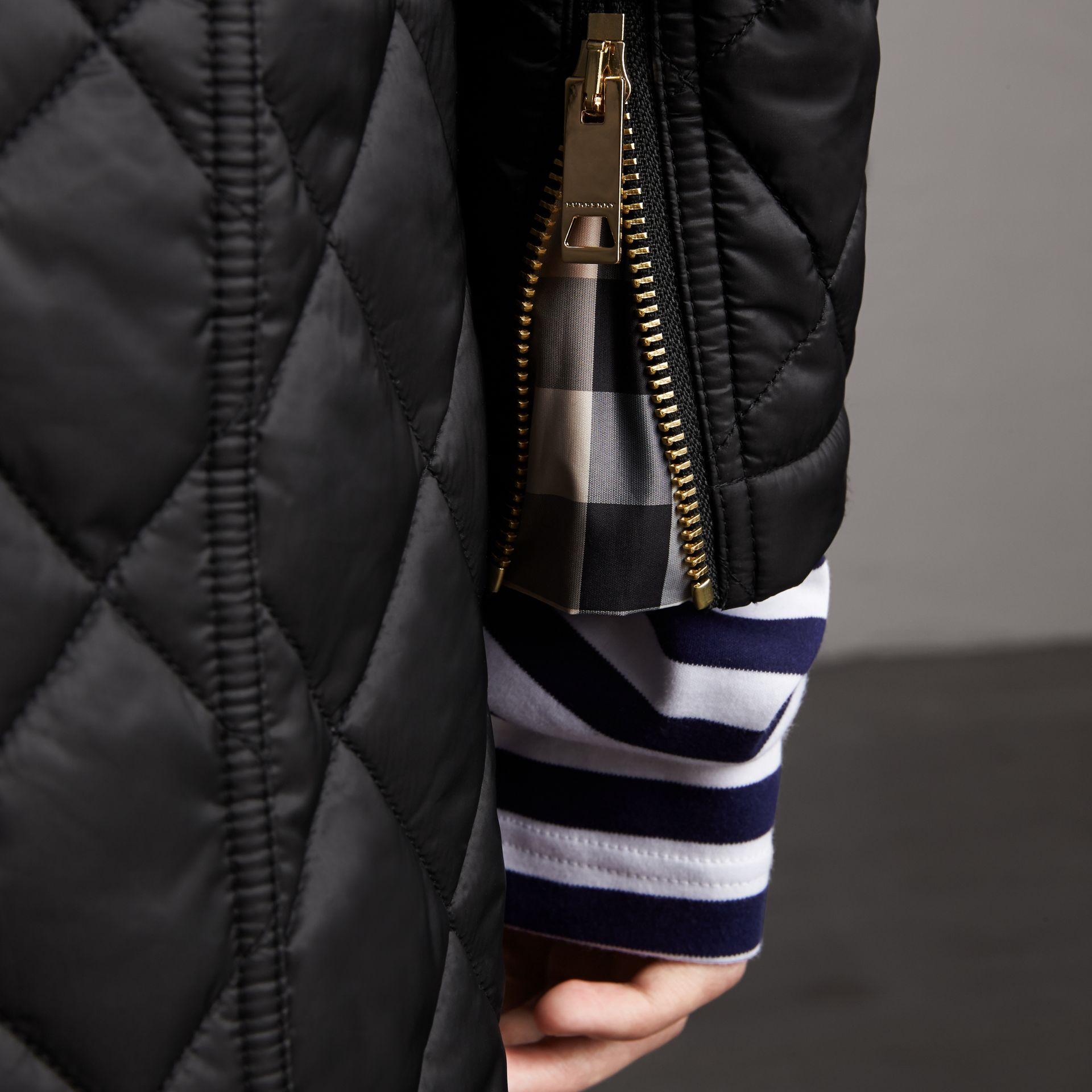 Detachable Hood Quilted Showerproof Parka in Black - Women | Burberry - gallery image 6