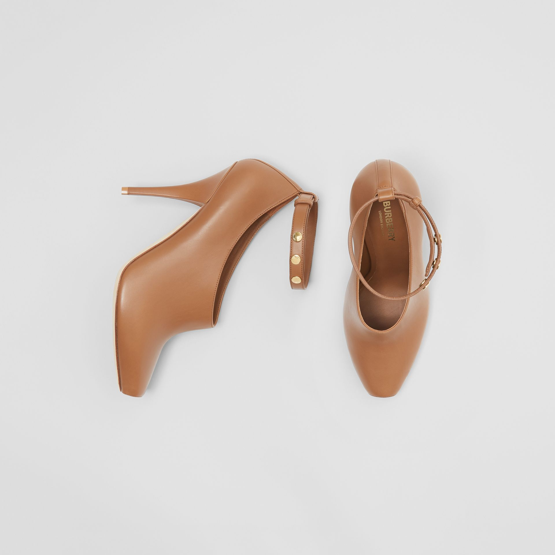 Leather Peep-toe Pumps in Amber Brown - Women | Burberry - gallery image 0