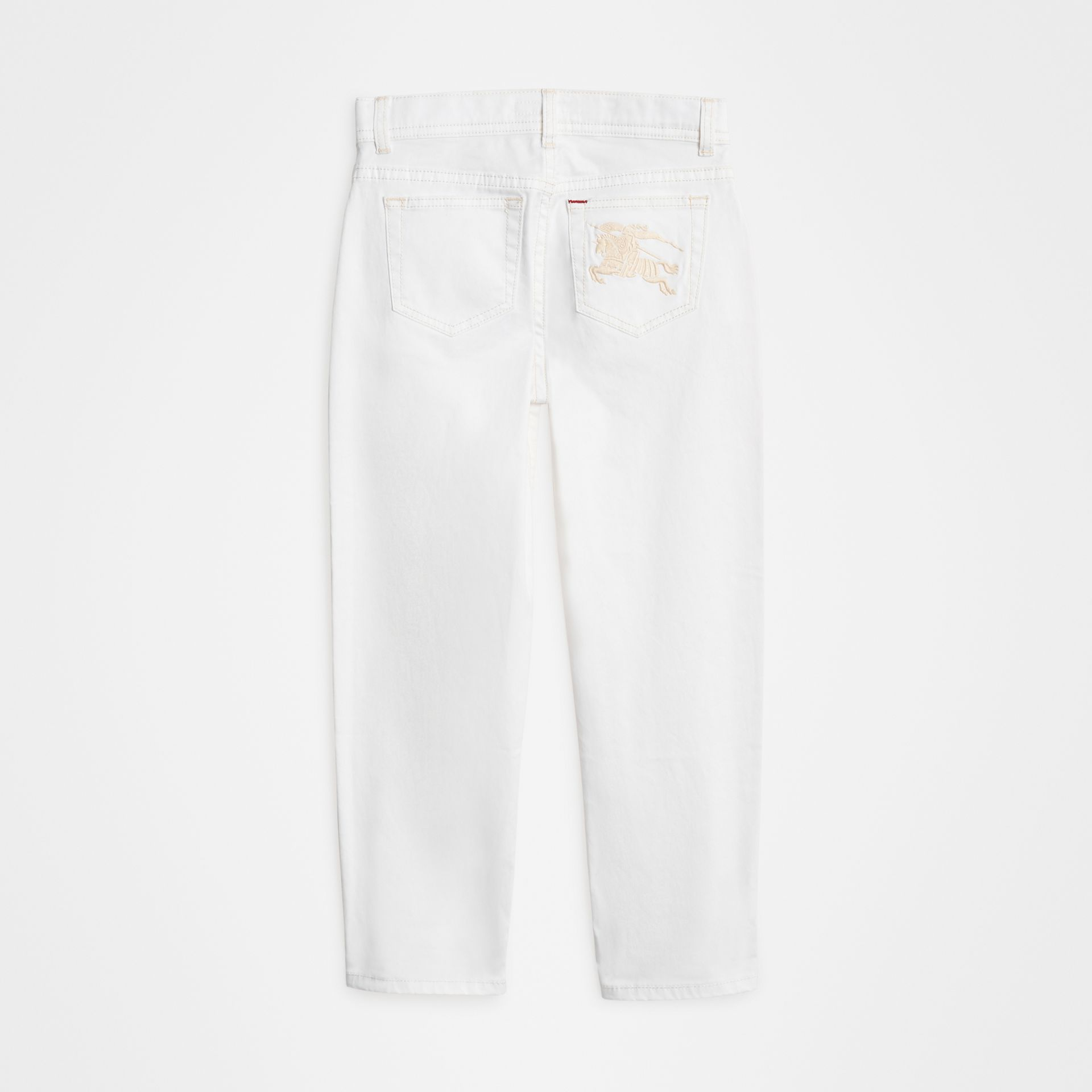 Relaxed Fit Stretch Denim Jeans in White | Burberry - gallery image 3