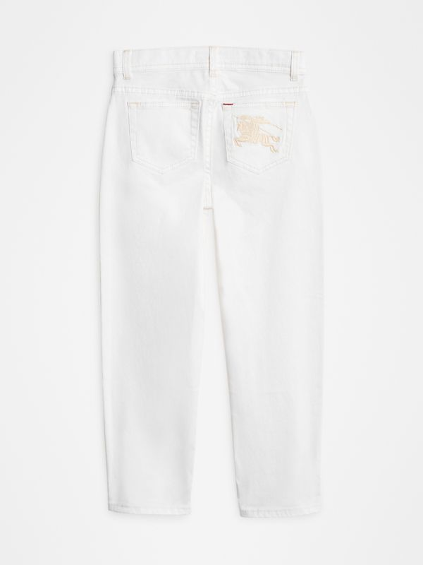 Relaxed Fit Stretch Denim Jeans in White - Girl | Burberry Canada - cell image 3